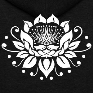 Large lotus flower in tattoo style. - Unisex Fleece Zip Hoodie by American Apparel