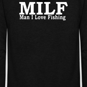 MILF MAN I LOVE FISHING - Unisex Fleece Zip Hoodie by American Apparel