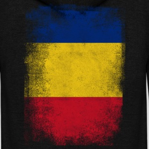 Romania Flag Proud Romanian Vintage Distressed Shi - Unisex Fleece Zip Hoodie by American Apparel
