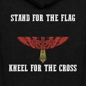 Stand for the flag germany kneel for the cross - Unisex Fleece Zip Hoodie by American Apparel