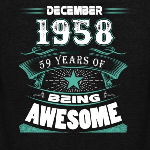 December 1958 - 59 years of being awesome - Unisex Fleece Zip Hoodie by American Apparel