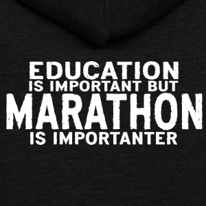 Education is important but Marathon is importanter - Unisex Fleece Zip Hoodie by American Apparel