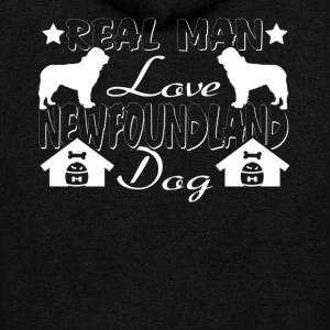 REAL MAN LOVE NEWFOUNDLAND DOG SHIRT - Unisex Fleece Zip Hoodie by American Apparel