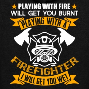Get Wet Playing With Firefighter Shirt - Unisex Fleece Zip Hoodie by American Apparel