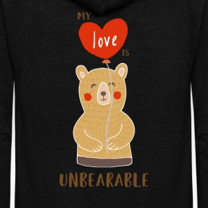 Cute My Love Is Unbearable - Unisex Fleece Zip Hoodie by American Apparel
