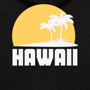 Hawaii Sunset Palm Trees Beach - Unisex Fleece Zip Hoodie by American Apparel