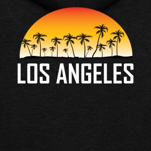 Los Angeles Sunset And Palm Trees Beach - Unisex Fleece Zip Hoodie by American Apparel