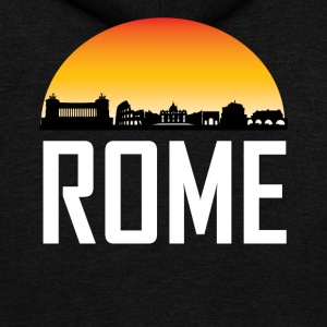 Sunset Skyline Silhouette of Rome Italy - Unisex Fleece Zip Hoodie by American Apparel
