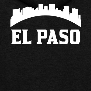 Vintage Style Skyline Of El Paso TX - Unisex Fleece Zip Hoodie by American Apparel