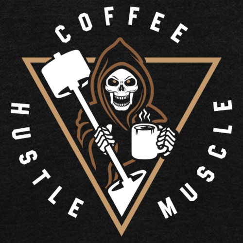 Coffee Hustle Muscle Grim Reaper - Unisex Fleece Zip Hoodie