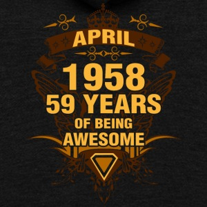 April 1958 59 Years of Being Awesome - Unisex Fleece Zip Hoodie by American Apparel