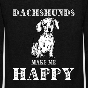 Dachshund Make Me Happy T Shirt - Unisex Fleece Zip Hoodie by American Apparel