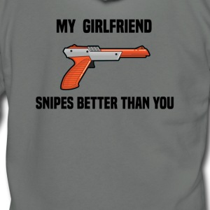 Girlfriend Snipes Better T-Shirt. Retro Gaming - Unisex Fleece Zip Hoodie by American Apparel