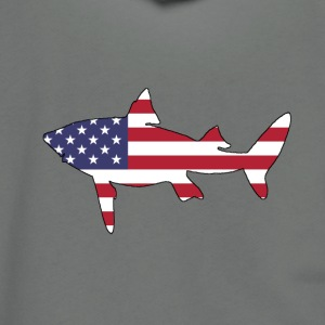 American Flag - Shark - Unisex Fleece Zip Hoodie by American Apparel