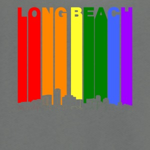 Long Beach Skyline Rainbow LGBT Gay Pride - Unisex Fleece Zip Hoodie by American Apparel