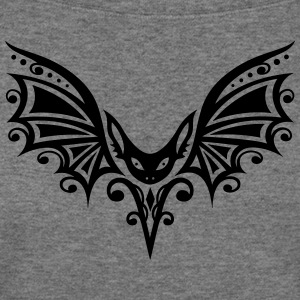 Flying Bat, Tribal and Tattoo Design - Women's Wideneck Sweatshirt