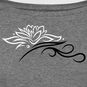 Large lotus flower with small tribal. - Women's Wideneck Sweatshirt