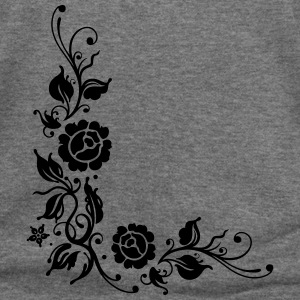 Roses with filigree ornament and leaves - Women's Wideneck Sweatshirt
