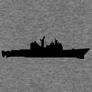 Vector Navy warship Silhouette - Women's Wideneck Sweatshirt