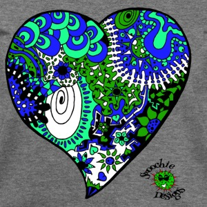 Funky heart design blue green aqua - Women's Wideneck Sweatshirt