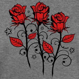 Red roses with many stars - Women's Wideneck Sweatshirt