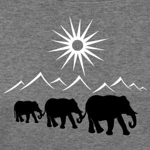 Elephants in the desert, vacation, travel. - Women's Wideneck Sweatshirt