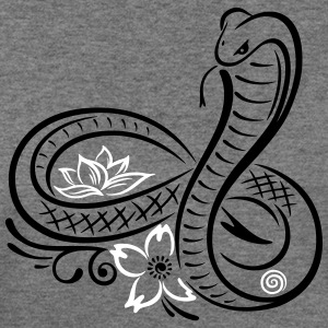 Snake with lotus flower and infinity - Women's Wideneck Sweatshirt