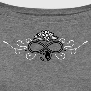 Lotus with infinity and Yin & Yang - Women's Wideneck Sweatshirt