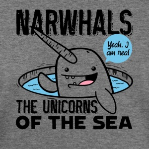 Narwhals Yes I'm Real Unicorn Of The Sea Shirt - Women's Wideneck Sweatshirt