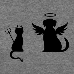 Devilish Cat And Angelic Dog - Women's Wideneck Sweatshirt