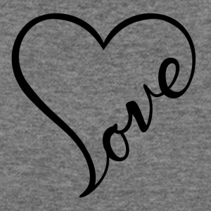 Love - Cursive Heart Design (Black Letters) - Women's Wideneck Sweatshirt