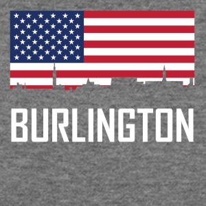 Burlington Vermont Skyline American Flag - Women's Wideneck Sweatshirt