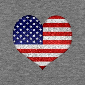Heart Shaped Grunge Style Usa Flag - Women's Wideneck Sweatshirt