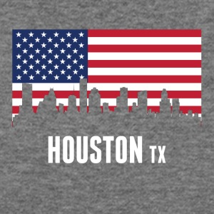 American Flag Houston Skyline - Women's Wideneck Sweatshirt