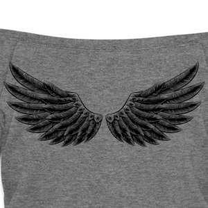angelic-wings-vector-staff-angel-cartoon - Women's Wideneck Sweatshirt