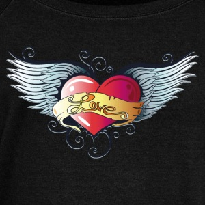 Big heart with wings, Tattoo Style. - Women's Wideneck Sweatshirt