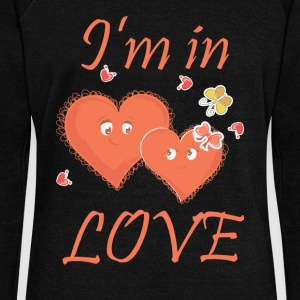 I am in Love - Heart couple - Women's Wideneck Sweatshirt