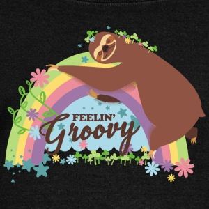 Retro rainbow funny sloth feelin groovy - Women's Wideneck Sweatshirt