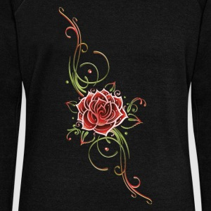Red rose with leaves and filigree Tribal. - Women's Wideneck Sweatshirt