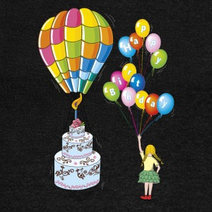 Birthday cake with hot air balloon - Women's Wideneck Sweatshirt