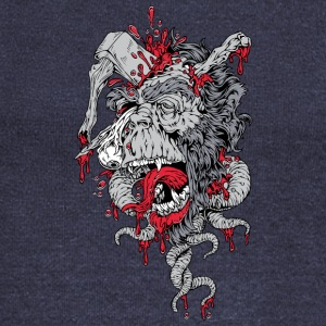 zombie ape with axe on head - Women's Wideneck Sweatshirt