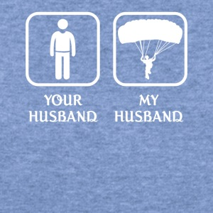Husband Skydiving Love- cool shirt,geek hoodie,tan - Women's Wideneck Sweatshirt