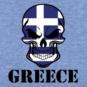 Greek Flag Skull Greece - Women's Wideneck Sweatshirt