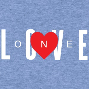 One Love w/ A Red Heart (White Letters) - Women's Wideneck Sweatshirt