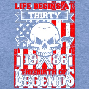 Life Begins At Thirty 1986 The Birth Of Legends - Women's Wideneck Sweatshirt