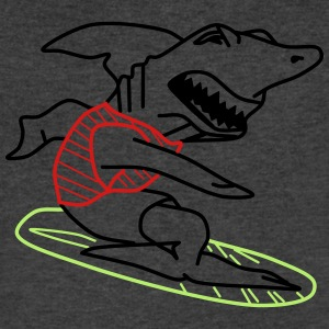 Surfer Shark - Men's V-Neck T-Shirt by Canvas