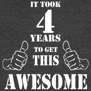 4th Birthday Get Awesome T Shirt Made in 2013 - Men's V-Neck T-Shirt by Canvas