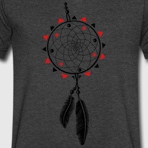 Dreamcatcher with sun and two feathers - Men's V-Neck T-Shirt by Canvas