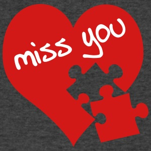 miss you / red heart - Men's V-Neck T-Shirt by Canvas