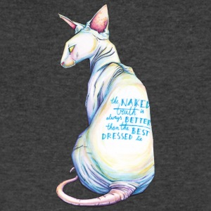 The naked truth // sphinx cat print w/ quote - Men's V-Neck T-Shirt by Canvas